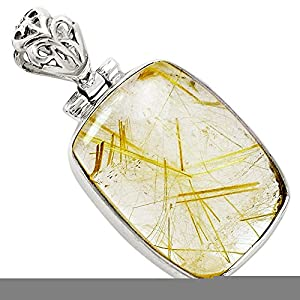 """Xtremegems Golden Rutile 925 Sterling Silver Pendant Jewelry 1 1/8"""" 7754P"""