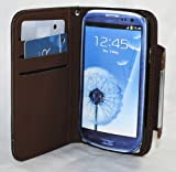 MoboGadget TM Black With Brown Magnetic Clasp Book Style Leather Pouch + Built in Hand Strap + Credit Card Slots for Samsung Galaxy S 3 i9300 Cell Phone Carrying Case / Pouch