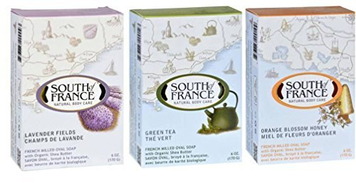 South Of France Natural Body Care Bar Soap- 3 Fragrance Variety Bundle (1 South Of France Lavender Fields, 1 South Of France Green Tea, and 1 South Of France Orange Blossom Honey)- 6 Ounce Each