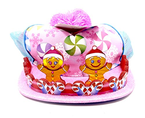 Holiday Time Christmas Gingerbread Hat,Gingerbread Pair,Candy Cane Border,Pink/Blue - Border Bread