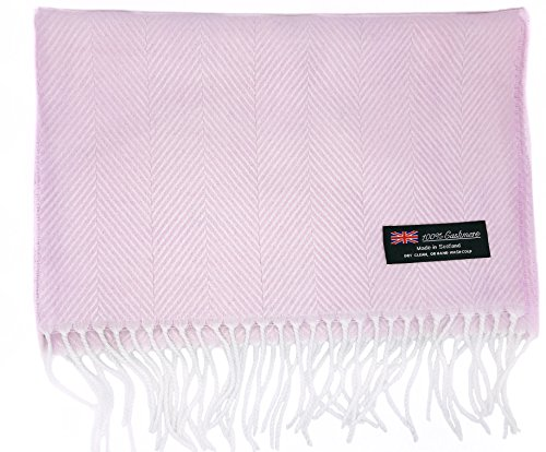 Ultra Soft Luxurious Cashmere Winter Scarf Made in Scotland (Soft Pink (Tweed Wrap)