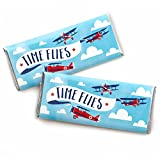 Taking Flight - Airplane - Candy Bar Wrapper Vintage Plane Baby Shower or Birthday Party Favors - Set of 24