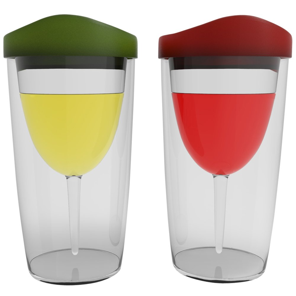 amazoncom wineova plastic wine glasses with lid 10 ounze set of 2 with red and green lid bar tools u0026 glasses