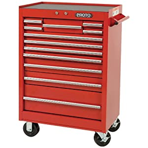 Stanley Proto J442742-12RD 440SS 27-Inch Roller Cabinet, 12 Drawer, Red