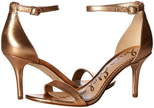 Leather con Copper Mujer Metallic Cuña Edelman Golden Sam Patti Sandalias para tw1Av8q