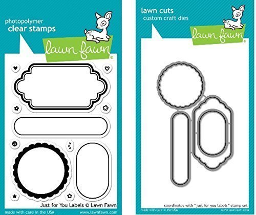 Lawn Fawn Just For You Labels Clear Stamp and Die Set - Includes One Each of LF1132 Stamp & LF1133 Die - Bundle Of 2 Frames Clear Stamp Set