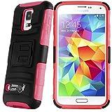 Galaxy S5 Case - 3-in-1 TITAN Heavy Duty Clip Case for Samsung Galaxy S5 / S5 Neo, Red