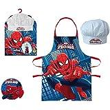 Réf353 LIC.03 - Coffret Petit Cuisinier Spiderman - Tablier + Toque - Cadeau Noël Enfant 3 à 8 Ans