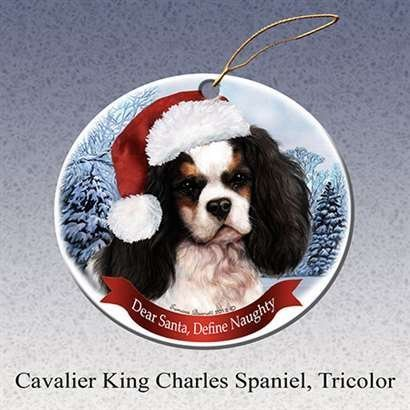 Holiday Pet Gifts Cavalier King Charles Spaniel, Tricolor Dog Porcelain Ornament