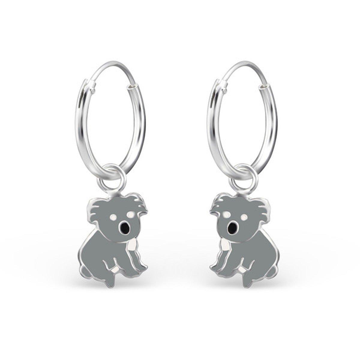 E28048 Cute Koala Hoop earrings Stering Silver