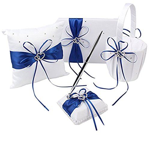 - Blue Wedding Accesorries Wedding GuestBook+Pen Set+Flower Girl Basket+Ring Bearer Pillow,Decor Ribbon Bowknot Double Heart Diamante Crystal Rhinestone Buckle, Elegant Wedding Ceremony Party