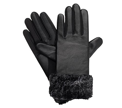 Isotoner Signature Women's Solid Leather Gloves With Fur Black S-M