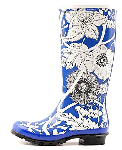 Luckers Womens Tall Winter Flowers Wellies Regenlaarzen Winterblauw