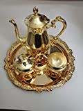 Sheridan Baroque Goldplated 4 pc. Coffee Set ... Coffee Pot, Creamer, Covered Sugar Bowl & Tray