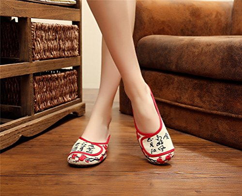 Dual Slippers Style Indoor Outdoor Casual Flats Qhome Beige Chinese Girls Embroidery q6HxYgA