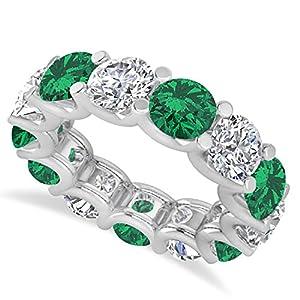 14k Gold (11.00ct) Diamond and Emerald Eternity Prong-Set Wedding Band
