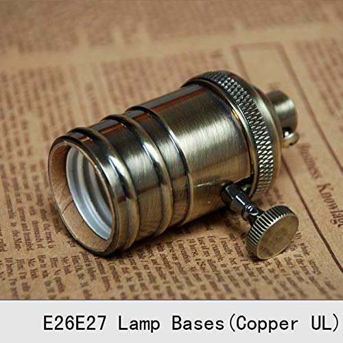 Lamp Base - Vintage Lamp Bases E27 Edison Copper Bronzed Retro Screw Bulb Socket Knob Switch Pendant Light Lamp Holders 2PCS by Kamas (Image #2)