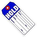 BOX USA BG26011 Retail Tags,HOLD, 4 3/4'' x 2 3/8'', Blue/White (Pack of 500)