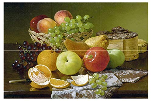 Tile Mural Still Life with Apples Grapes by Robert Spear Dunning Orange Peaches Pears Kitchen Bathroom Shower Wall Backsplash Splashback 3x2 4.25