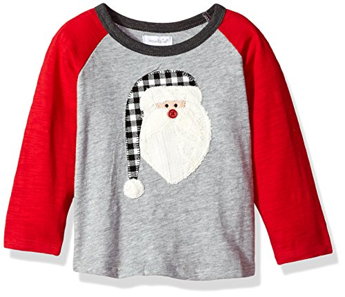 Mud Pie Baby Toddler Boys' Christmas Long Sleeve Raglan T-Shirt, Santa, LG/ 4T-5T