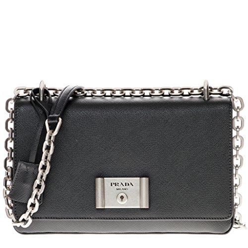 Prada Women's Saffiano Lux Shoulder Bag Black