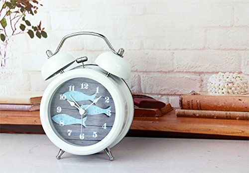 3-Inch Non-ticking Quartz Retro Twin Bell Alarm Clock with Loud Alarm and Nightlight,Fish Classic White