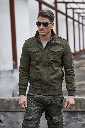 28d061284e ZooYung Men's Casual Winter Cotton Military Jackets Outdoor Coat windproof  windbreaker(2701-Green-