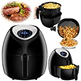 SUPER DEAL 5.8 Quarts Extra Large Hot Air Fryer 1800W XL Recipes & CookBook, Digital LED Touch Display Featuring 7 Cooking Presets Menu, Timer Temperature Control, 5.5 L Capacity