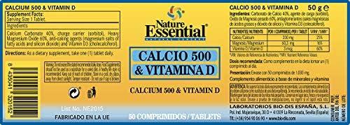 Calcio 500 + vitamina D 50 comprimidos: Amazon.es: Salud y cuidado ...