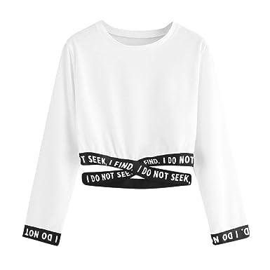 cbe9f33164e4a Sweat-Shirt Femme Court Chic Sweatshirt Filles Ados Imprimé Lettre Pull  Automne Tonsi