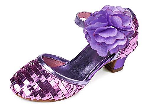 Alicorn Girl's Purple Flower Low Heel Sandals Dancing Dress Shoes 2.5 M US Big Kid