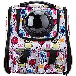 Mochila portadora de Gatos, Mochila portadora portátil Transpirable Space Capsule para Mascotas, Perros pequeños y pequeños (3 Colores)(pequeño Monstruo)