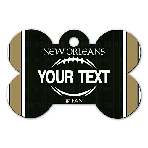 BleuReign(TM Personalized Custom Name Football New Orleans License Plate Bone Shaped Metal Pet ID Tag with Contact Information