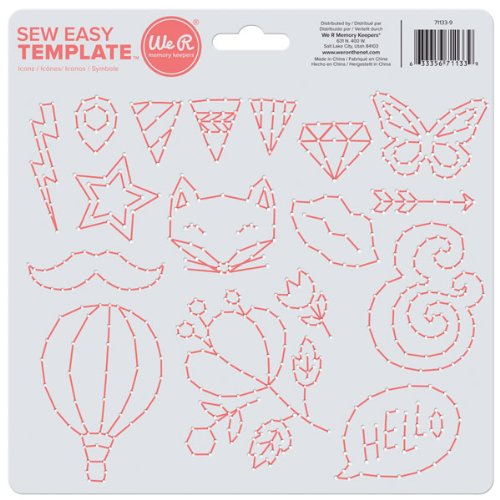 Easy Stitches Template - We R Memory Keepers Icon Sew Easy Templates, 8-Inch by 8.25-Inch