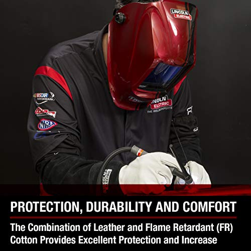 Lincoln Electric Welding Sleeves | Split Leather & Flame Resistant (FR) Cotton | Heat Resistance & Durability |  K3111-ALL by Lincoln Electric (Image #2)