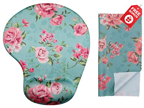 (Vintage Roses Teal Ergonomic Design Mouse Pad with Wrist Support. Gel Hand Rest. Matching Microfiber Cleaning Cloth for Glasses, Cars & Electronics. Mouse Pad for Laptop, PC Computer and)