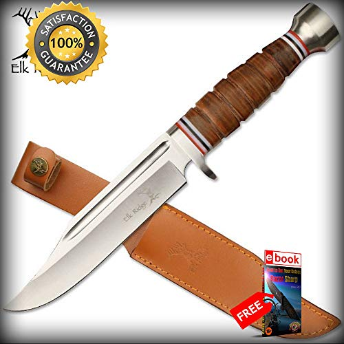 (Elk Ridge 12'' Leather Handle Fixed Blade Hunting SHARP KNIFE with Leather Sheath Combat Tactical Knife + eBOOK by Moon Knives)