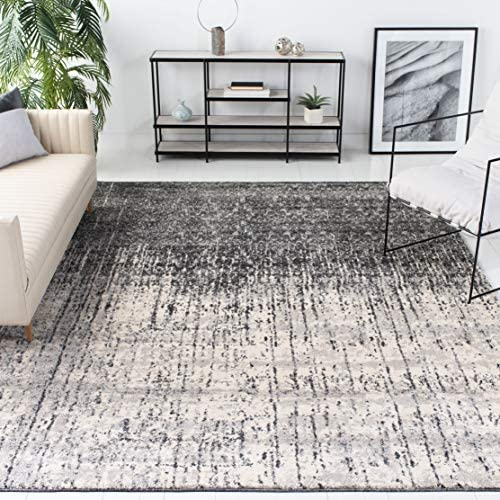 Safavieh Retro Collection RET2770-9079 Modern Abstract Black and Light Grey Area Rug 8 9 x 12