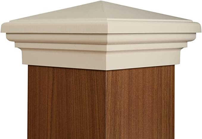 by Atlanta Post Caps 3.5 4x4 Post Cap │ Gray Slim Profile Pyramid Square Top for Outdoor Fences Mailboxes /& Decks