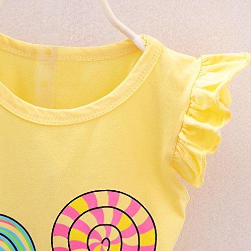 Omiky® 2 Stücke Kinder Baby Mädchen Lolly T-Shirt Tops + Kurze Hosen Outfits Kleidung Gelb