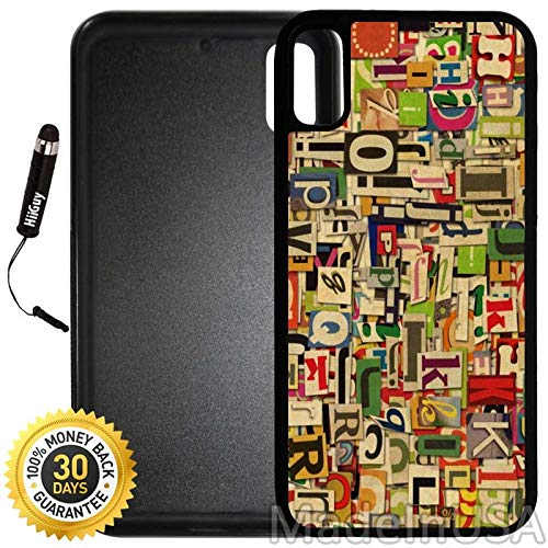 Custom iPhone X/XS Case (Vintage Alphabet Clippings) Edge-to-Edge Rubber Black Cover with Shock and Scratch Protection | Lightweight, Ultra-Slim | Includes Stylus Pen by INNOSUB ()