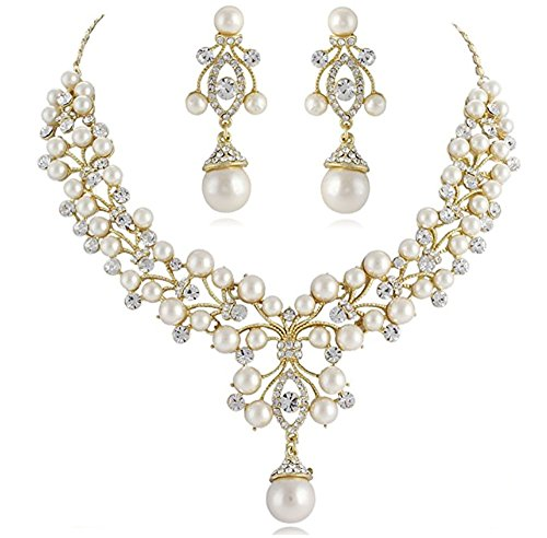 Janefashions White Ivory Imitated Pearl Cluster Clear Austrian Rhinestone Crystal Necklace Earrings Jewelry Set Silver or Gold Tone Prom Bridal Wedding Bridesmaids N818 (Gold Tone)