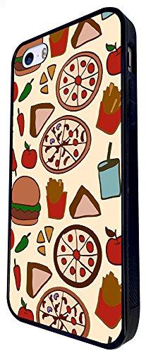 904 - Yum Yum Pizza Burger Fries Design iphone SE - 2016 Coque Fashion Trend Case Coque Protection Cover plastique et métal - Noir