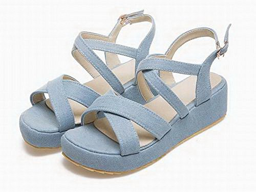 Sandals Toe Fabric WeenFashion Solid Women's Heels LightBlue Open Buckle Kitten wq87X0