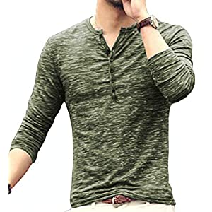 MLANM Mens Casual Slim Fit Basic Henley Short/Long Sleeve Fashion T-Shirt