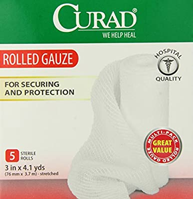 Curad Rolled Gauze, 3 Inch x 4.1 Yards, 5 Count (Pack of 6)
