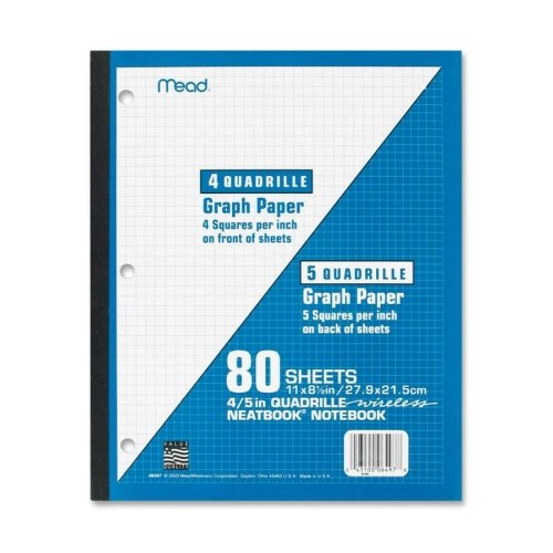 Mead 1-Subject Wireless Neatbook - 80 Sheet - Quad Ruled - Letter 8.50