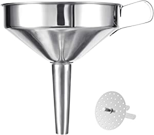 BGLINKAL 5.7-Inch Food Grade Stainless Steel Kitchen Funnel with a Strainer Filter for Transferring of Liquid Dry Ingredients, Wide Mouth Metal Cooking Funnel