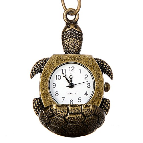 Vintage Lucky Star Turtle Shape Quartz Pocket Watch Necklace for Women Girl Gift (Turtle) from GlobalDeal