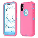 iPhone X Case,5.8 inch Screen [VCOSI] 3-Layer Design Heavy Duty Defense Shield for iPhone X/iPhone 10 (ONLY) Shock-Resistant Dustproof Case (Rose/Blue)